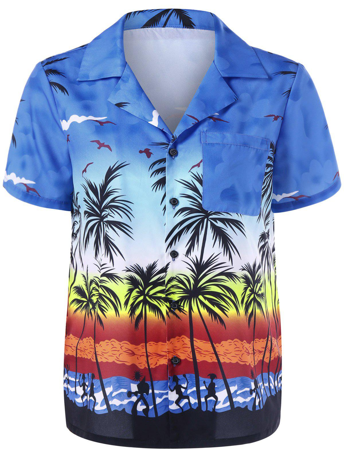 Notched Collar Palm Print Hawaiian Shirt - AZURE L
