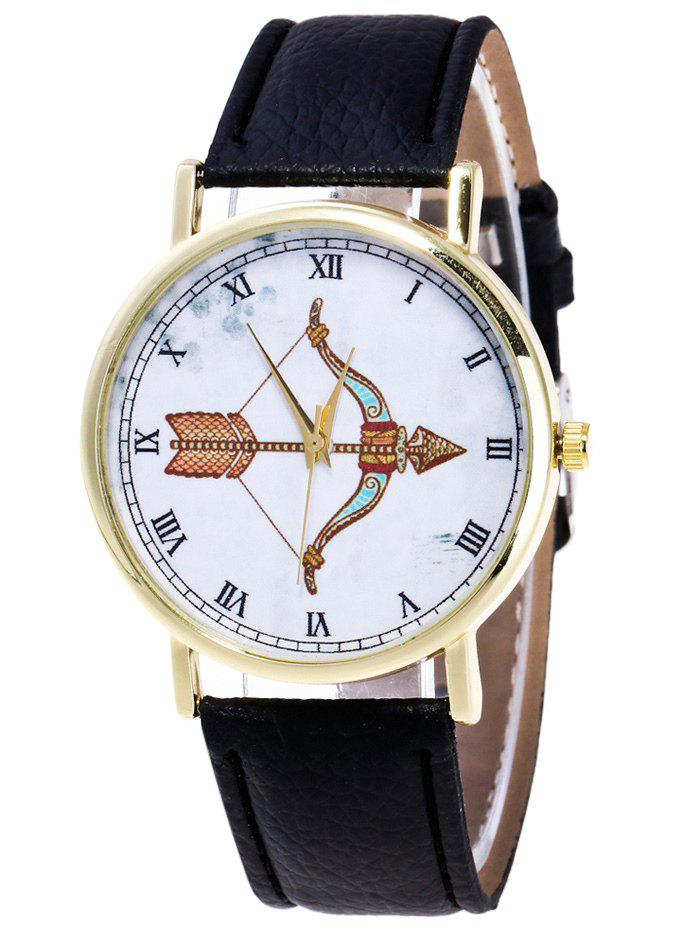 Cartoon Arrow Roman Numerals Watch - BLACK