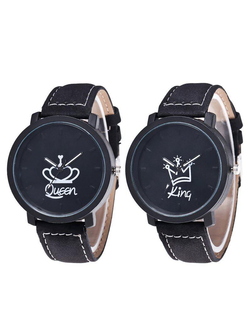 King Queen Crown Couple Watches - BLACK
