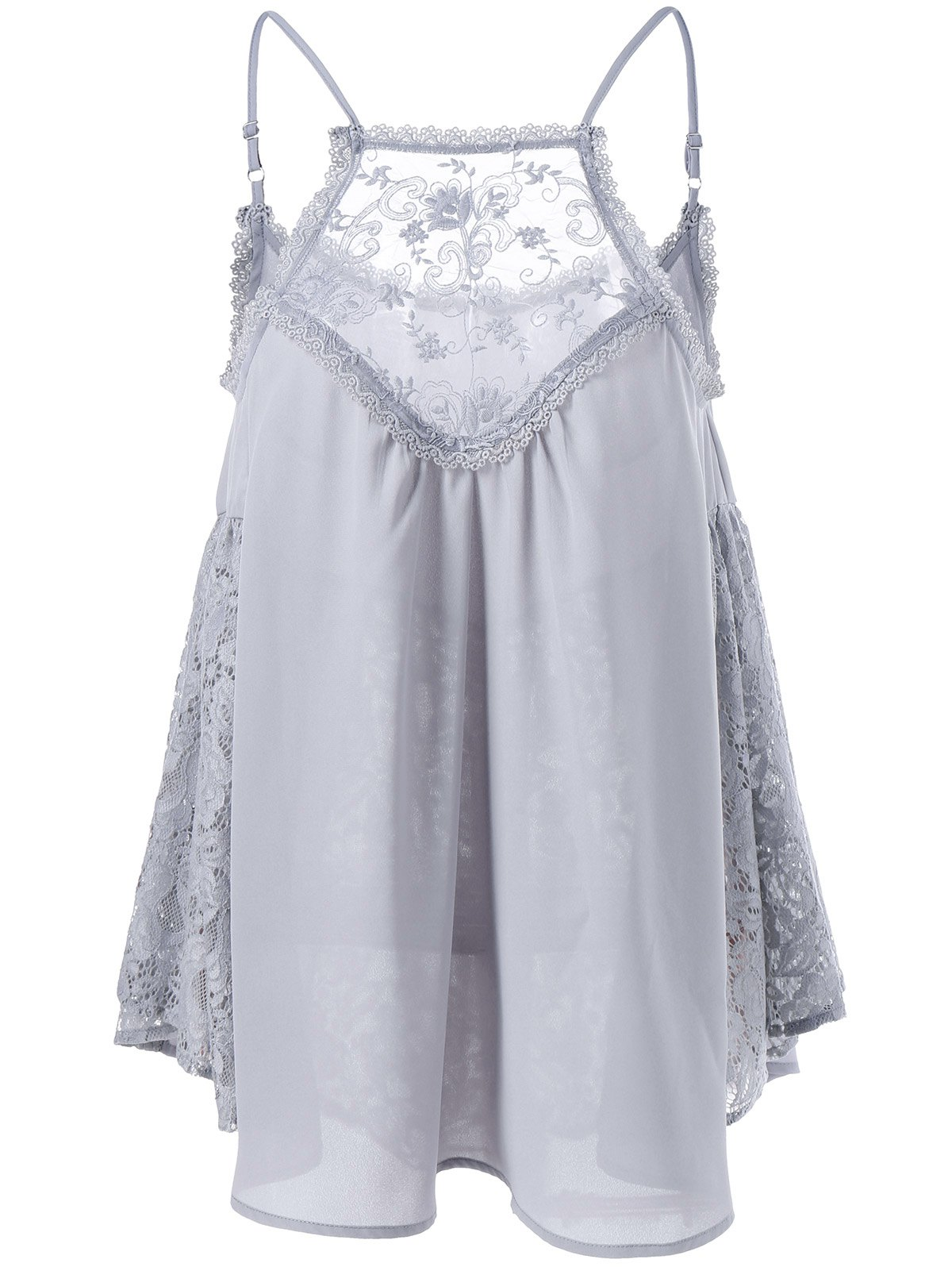 Spaghetti Strap Lace Trim Smock Blouse lace trim embroidered smock top