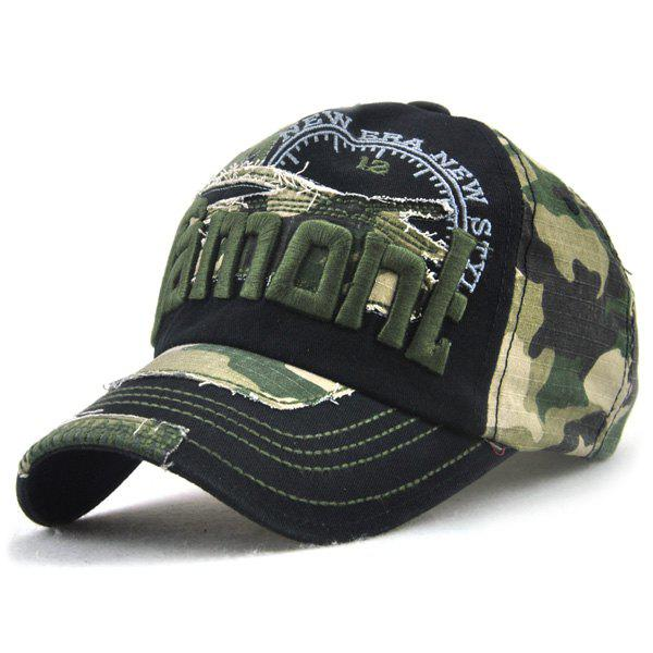Camo Letters Embroidery Spliced Baseball Hat - BLACK