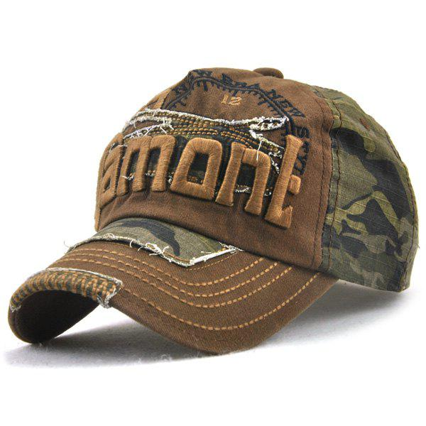 Camo Letters Embroidery Spliced Baseball Hat - COFFEE