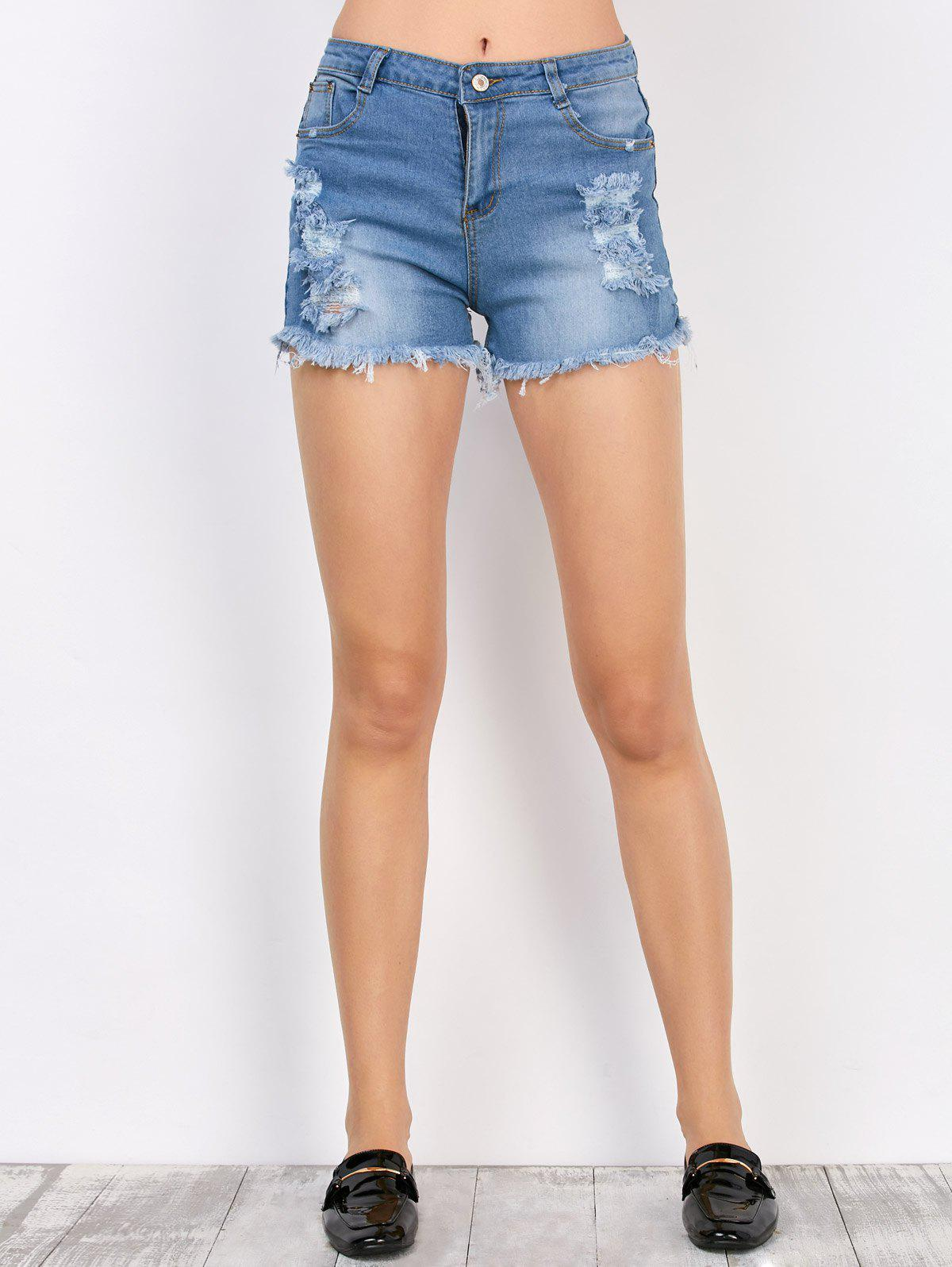 Denim Frayed Shorts with Pockets - DEEP BLUE XL