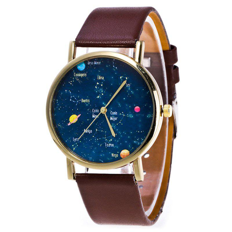 Faux Leather Constellation Watch - BROWN