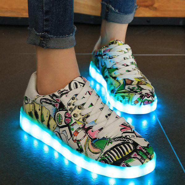 Graffiti Pattern Led Luminous Athletic Shoes - GREEN 37