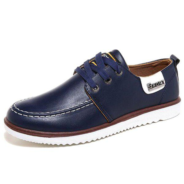 Stitching Color Block Casual Shoes - BLUE 44