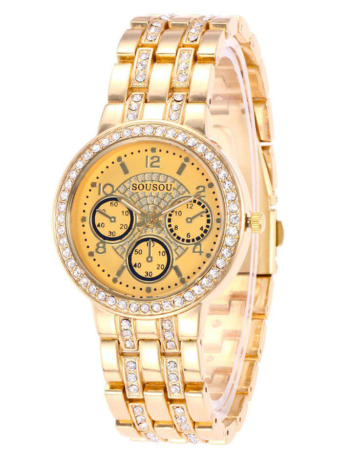 SOUSOU Steel Strap Rhinestone Watch - GOLDEN