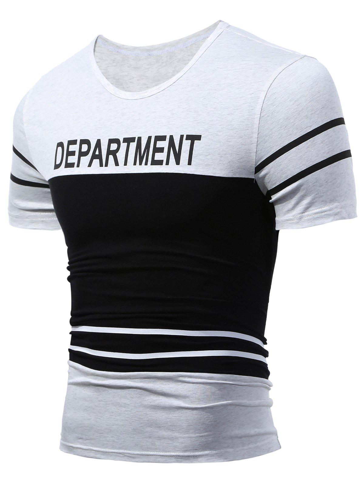 Department Printed Two Tone T-Shirt two tone mixed stripe t shirt