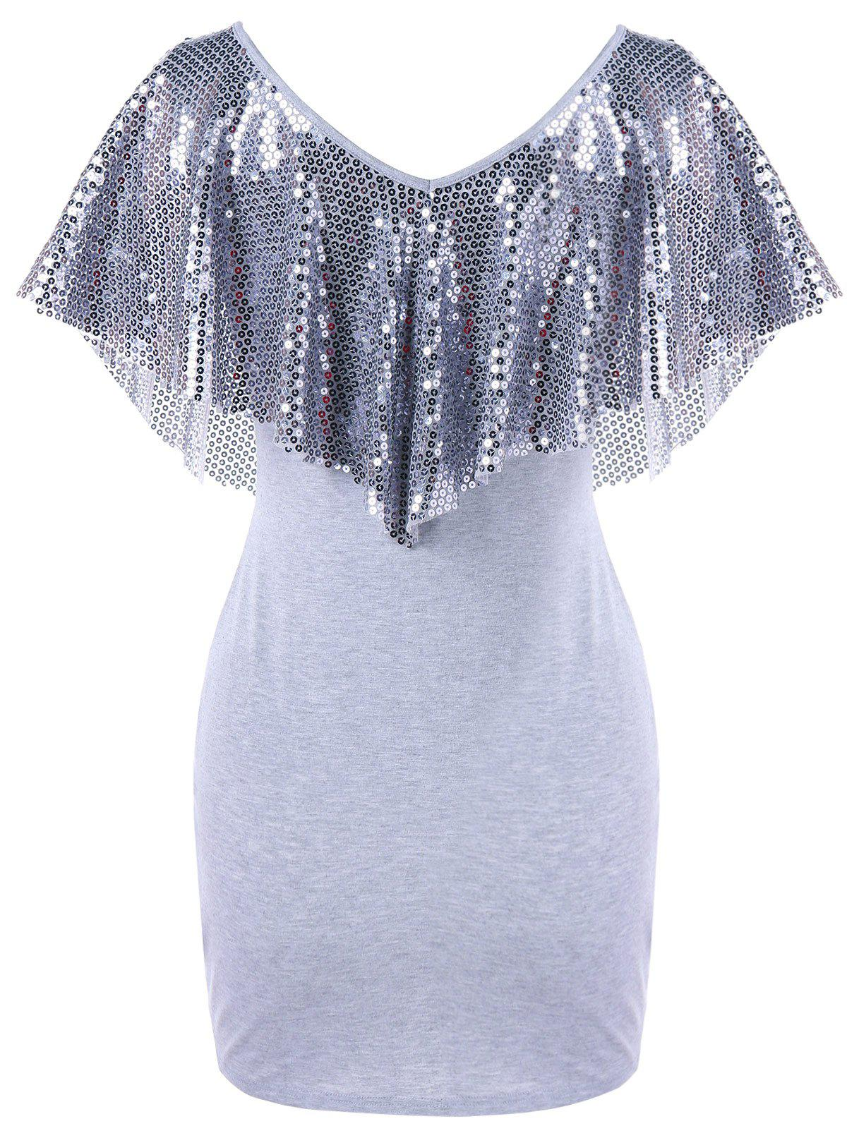 Sequined Trim Overlay Mini Dress - LIGHT GRAY XL