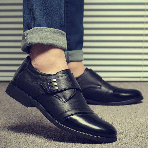Faux Leather Metal Formal Shoes - BLACK 40