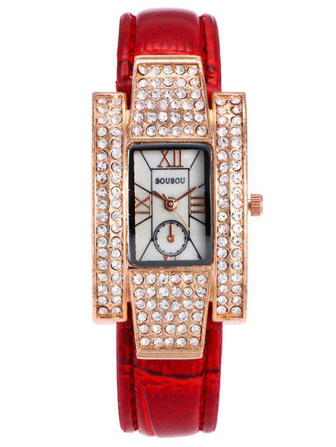 SOUSOU Montre Rectangle Analogique en Strass - Rouge