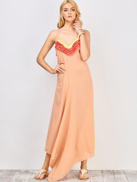 Stylish Spaghetti Straps Ruffles Spliced Women's Maxi Dress - PINK L