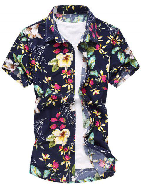 Colorful Flowers Print Short Sleeve Shirt - RED L