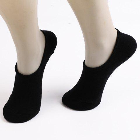 Fitted Skidproof Loafer Socks - BLACK