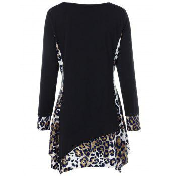 Long Sleeve Plus Size Leopard Trim Tunic T-Shirt - BLACK 2XL