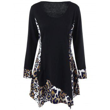 Long Sleeve Plus Size Leopard Trim Tunic T-Shirt