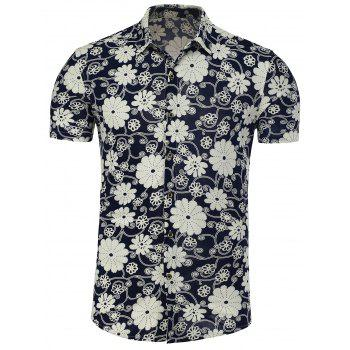 Floral Short Sleeve Plus Size Shirt