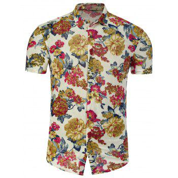Short Sleeve Colorful Flowers Plus Size Shirt