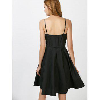 Scalloped Open Back Mini Slip Dress - BLACK BLACK