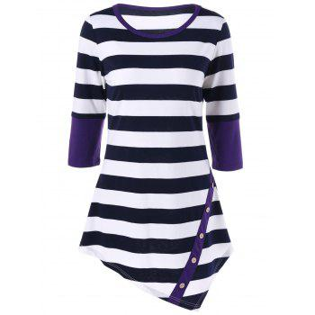 Striped Asymmetrical Longline T-Shirt with Button