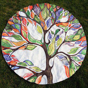 Colorful Life Tree Print Round Beach Throw