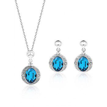 Round Faux Gem Rhinestone Jewelry Set