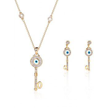 Rhinestone Key Evil Eye Jewelry Set