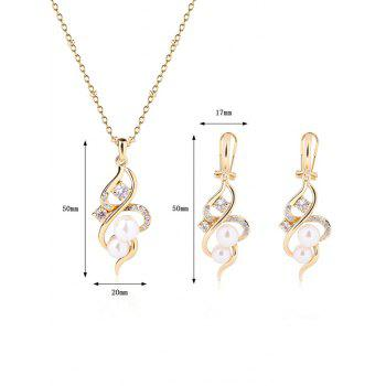 Bijoux Infinity Faux Perle Stras Set - Or