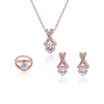 Crisscross Rhinestone Plated Jewelry Set