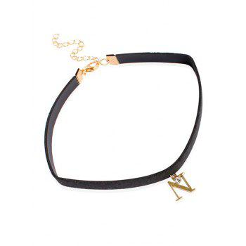 Letter Rhinestone Faux Leather Choker Necklace