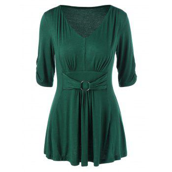 Empire Waist Peplum T-Shirt with O Ring