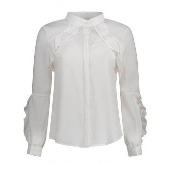 Long Sleeve Button Up Ruffle Blouse