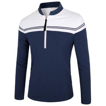 Two Tone Half Zip Polo Shirt