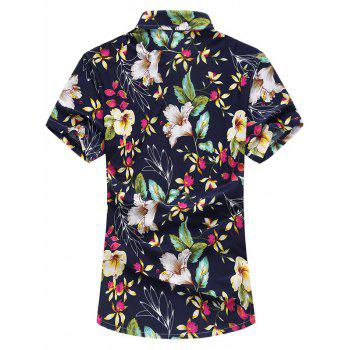 Colorful Flowers Print Short Sleeve Shirt - RED XL