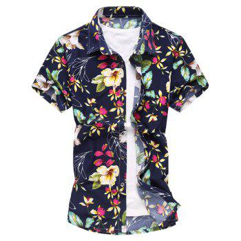 Colorful Flowers Print Short Sleeve Shirt