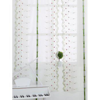 Roman Rose Embroidery Screening Sheer Tull Rideau - Blanc 80*200CM