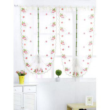 Roman Style Strawberry Embroidery Sheer Tulle Curtain