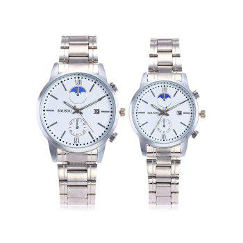 SOUSOU Steel Strap Couple Watches - WHITE WHITE