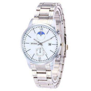 SOUSOU Steel Strap Couple Watches - WHITE