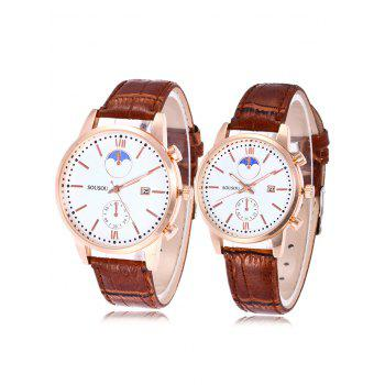 SOUSOU Faux Leather Date Couple Watches - BROWN BROWN