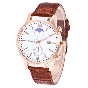 SOUSOU Faux Leather Date Couple Watches -  BROWN