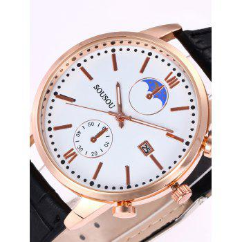 SOUSOU Faux Leather Date Couple Watches -  WHITE/BLACK