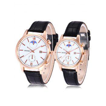 SOUSOU Faux Leather Date Couple Watches - WHITE AND BLACK WHITE/BLACK