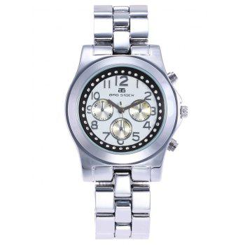 BRG STOCK Stainless Steel Rhinestone Number Watch