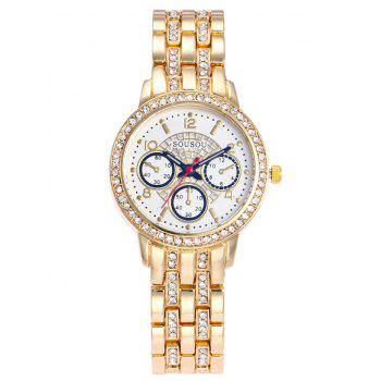 SOUSOU Alloy Strap Rhinestone Watch
