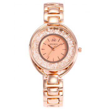 SOUSOU Alloy Band Rhinestone Analog Watch