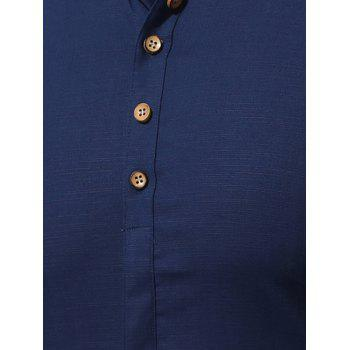 Short Sleeve Multi Botton Up Shirt - DEEP BLUE 4XL