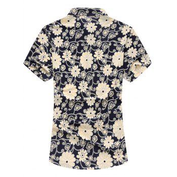 Short Sleeved Floral Shirt - KHAKI M