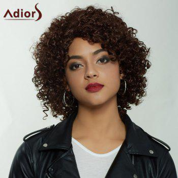 Adiors Shaggy Short Side Part Curly Synthetic Wig - BROWN BROWN