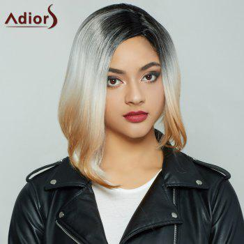 Fashion Medium Short Side Parting Straight Mixed Color Synthetic Hair Wig For Women